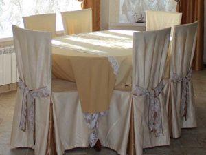 """Чехлы для стульев """"Парсон"""" на заказ с подхватом-повязкой"""