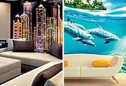 Города и дельфины, декоративные обои на стену в комнату