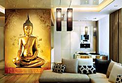 Будда медитирует - фотообои в интерьере зала