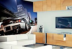 Панно с современным автомобилем на стену в комнате с телевизором и медиацентром