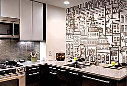 Абстрактные фотопанно с рисованным городом, на флизелиновой основе - можно наклеить в кухне