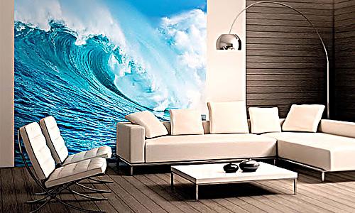 Голубая волна на всю стену - фото в интерьере