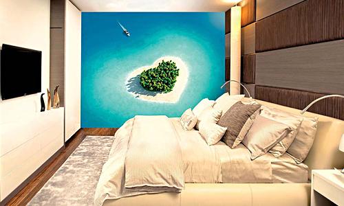 Тропические остров-сердуе в лазурном океане - обои на стене спальной
