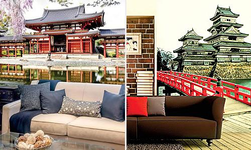 Красивые виды старинных японских замков в оформлении интерьера фотообоями Дивино Декор