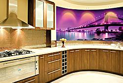 Фотодекор на стену в кухню современный городской мост