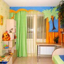 """Яркие шторы с аппликацией """"Пальма"""" для детской спальни"""