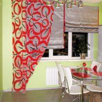 Авторские занавеси на кухню из органзы си римская штора из тафты