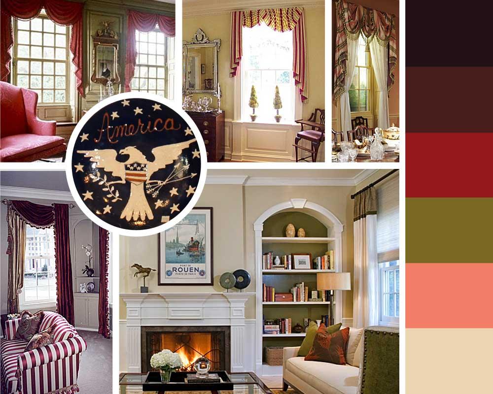 американский колониальный стиль в дизайне штор, палитра, ламбрекены