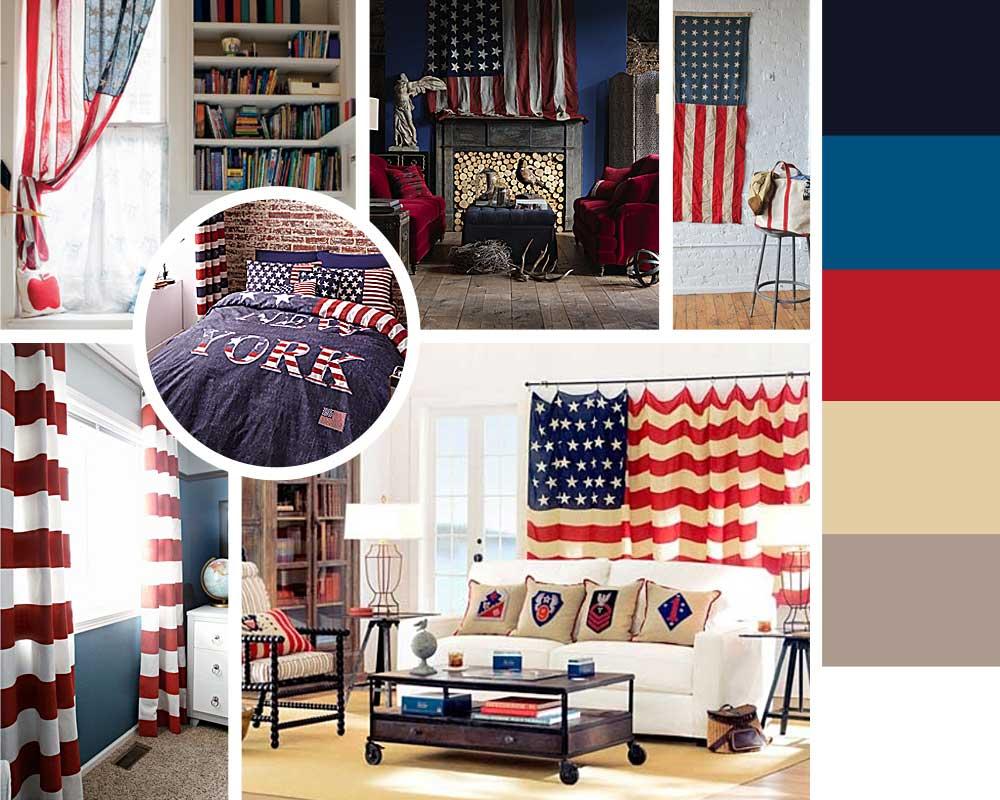 американский флаг в интерьер, шторы с американским флагом