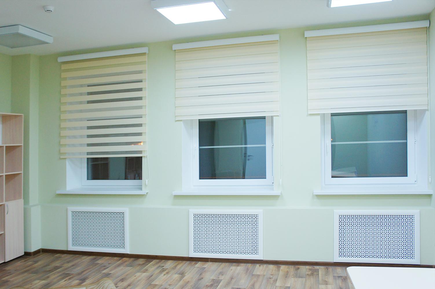 Кремовые шторы день-ночь на заказ в кабинет детского садика