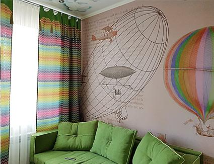 Дизайн штор с шевроном для детской